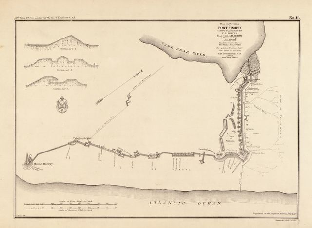 Plan and sections of Fort Fisher : carried by assault by the U.S. Forces Maj. Gen. A. H. Terry, Commanding, Jan. 15th, 1865 /