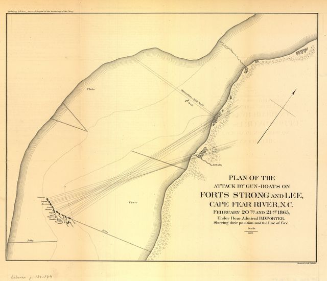 Plan of the attack by gun-boats on Forts Strong and Lee, Cape Fear River, N.C. February 20th and 21st 1865