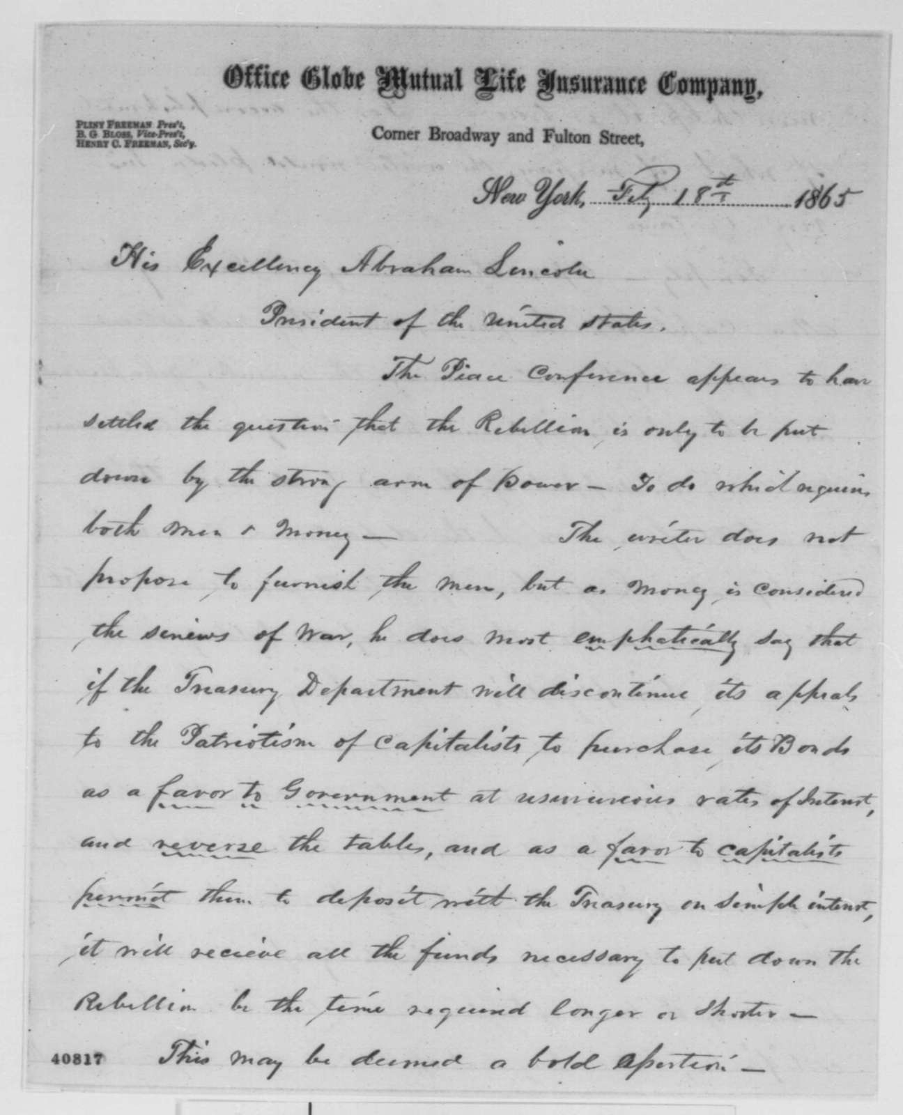 Pliny Freeman to Abraham Lincoln, Saturday, February 18, 1865  (Financial affairs)