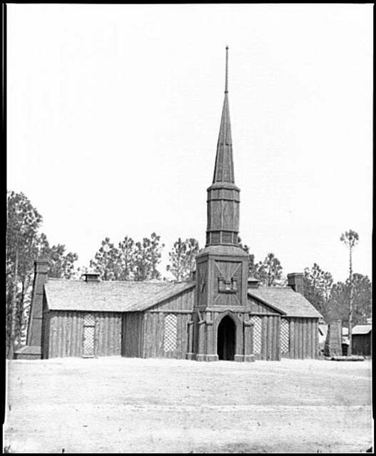 [Poplar Grove, Va. Log church built by the 50th New York Engineers, with the engineer insignia above the door]