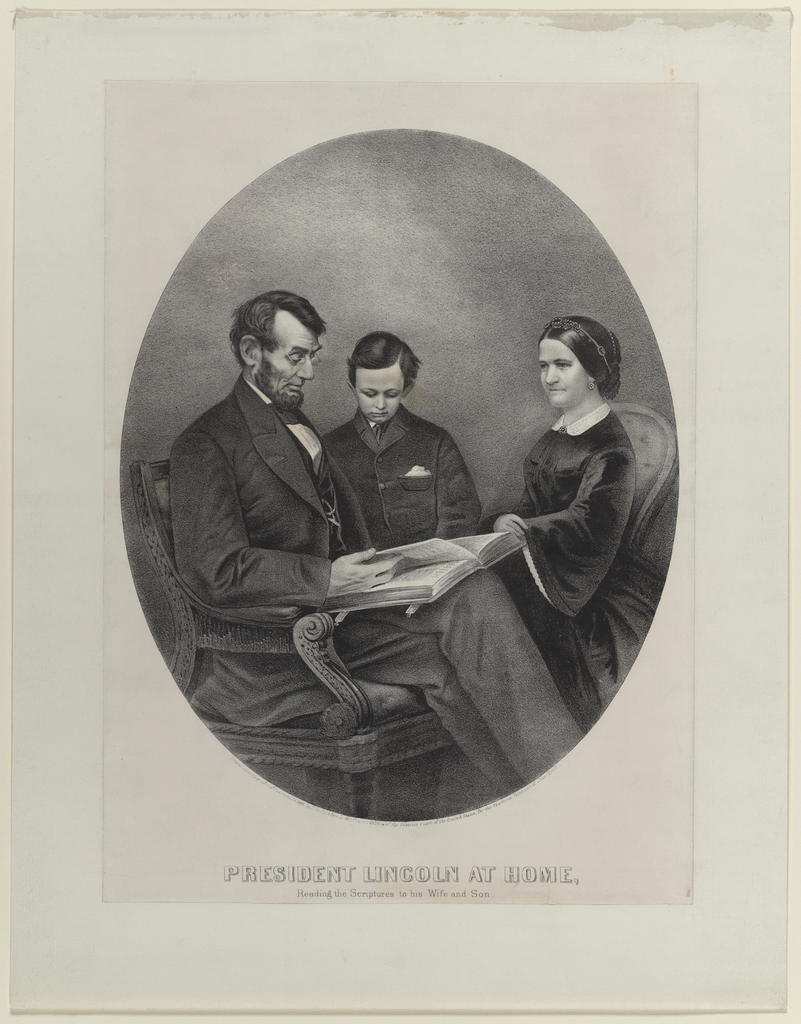 President Lincoln at home. Reading the scriptures to his wife and son, [Currier & Ives portrait].