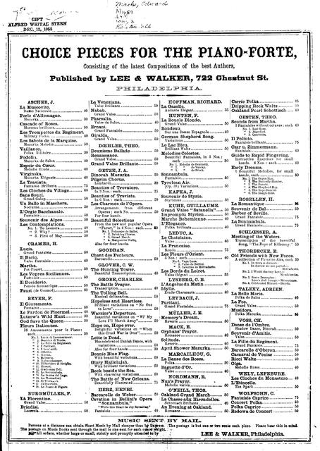President Lincoln's funeral march composed by E. Mack.