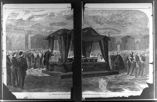 President Lincoln's funeral--servic[es in t]he White House, April 19, 1865