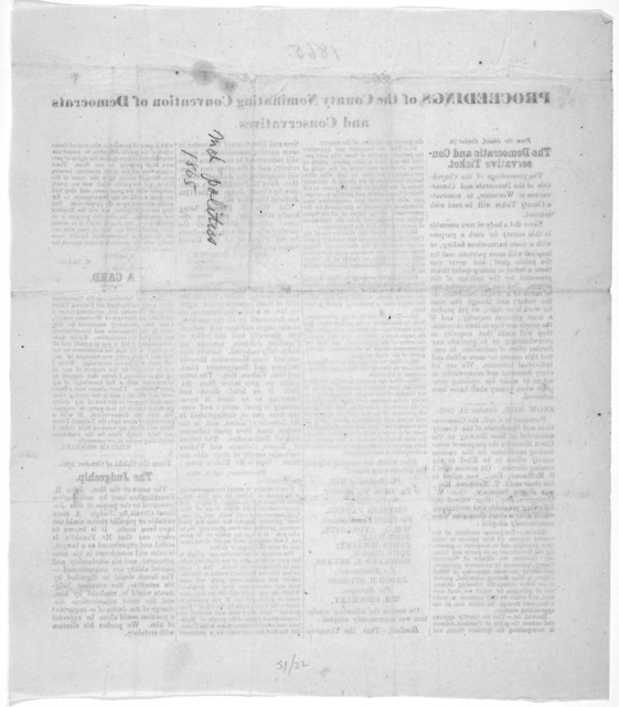 Proceeding of the county nominating Convention of Democrats and Conservatives [Worcester County, Md. 1865].