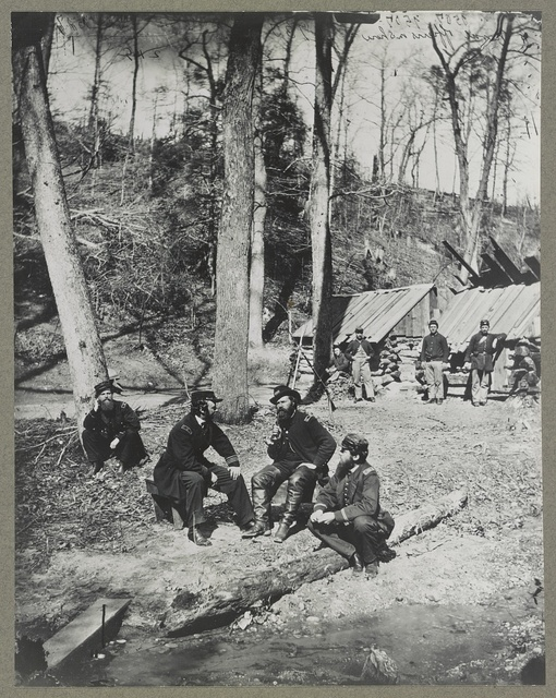 Prof. Mailefert  and naval officers at the torpedo station on the James River