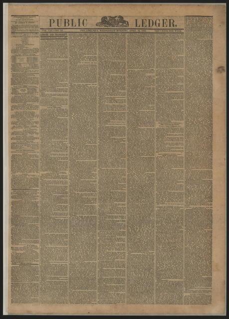 Public Ledger, [newspaper]. April 19, 1865.