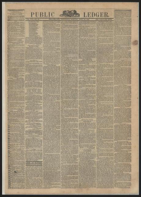 Public Ledger, [newspaper]. April 26, 1865.