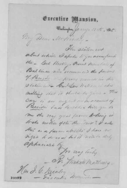 R. Stockett Mathews to John G. Nicolay, Thursday, January 12, 1865  (Reeside's case)