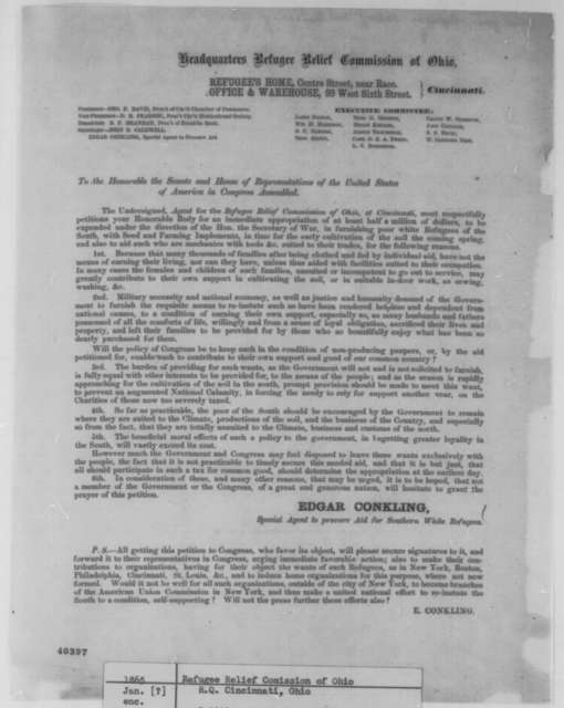 Refugee Relief Commission of Ohio to Congress, [January 1865]  (Printed petition)