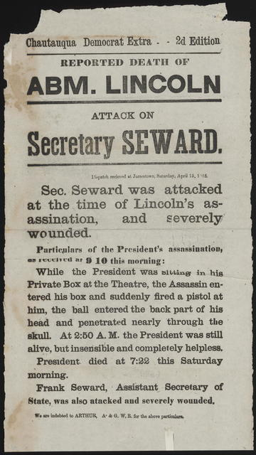 Reported death of Abm. Lincoln. Attack on Secretary Seward.