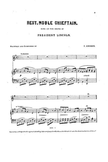 Rest, noble chieftain: song on the death of President Lincoln by C. Archer.
