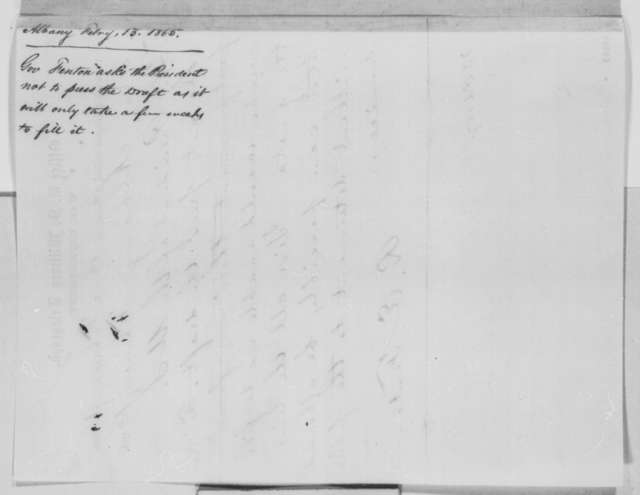 Reuben E. Fenton to Abraham Lincoln, Monday, February 13, 1865  (Telegram concerning conscription in New York)
