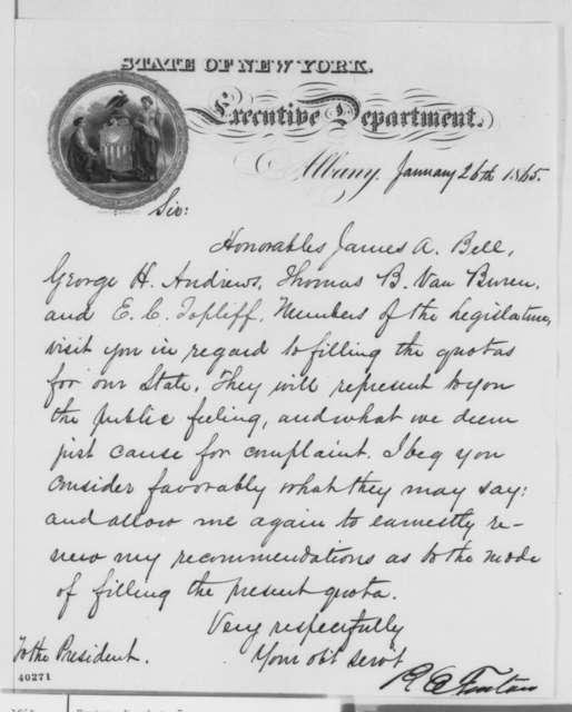 Reuben E. Fenton to Abraham Lincoln, Thursday, January 26, 1865  (Conscription in New York)