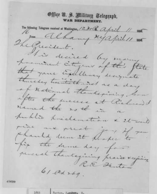 Reuben E. Fenton to Abraham Lincoln, Tuesday, April 11, 1865  (Telegram requesting national day of thanksgiving)