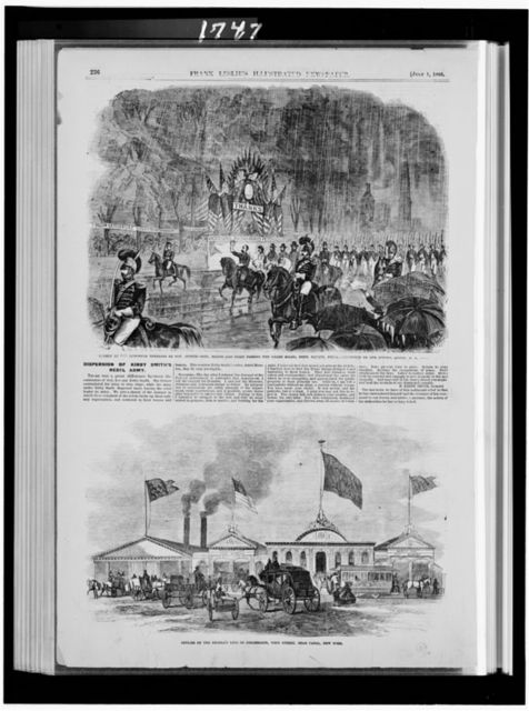 Review of the returned veterans by Gov. Curtin--Gen. Meade and staff passing the grand stand, Penn. Square, Phila. / / sketched by our special artist [...] Offices of the People's Line of Steamboats, West Street, near Canal, New York