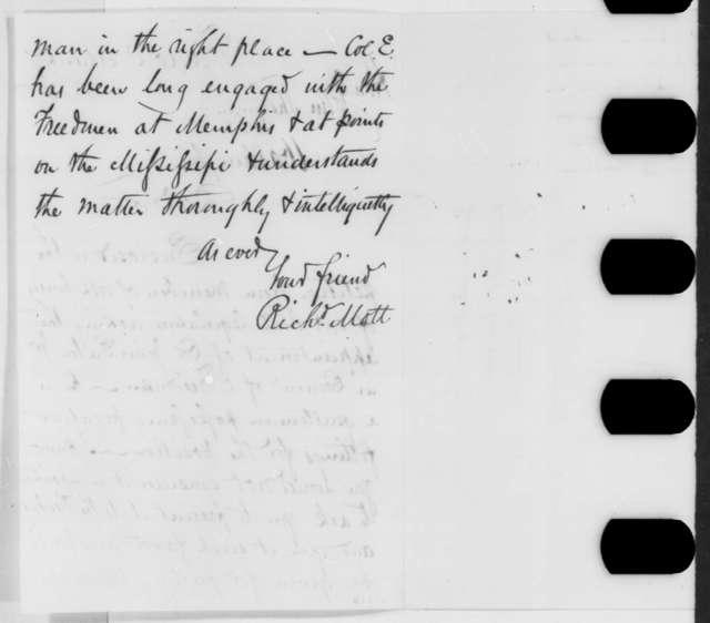 Richard Mott to John Sherman, Tuesday, March 07, 1865  (Sends petition on behalf of John Eaton; endorsed by Sherman)