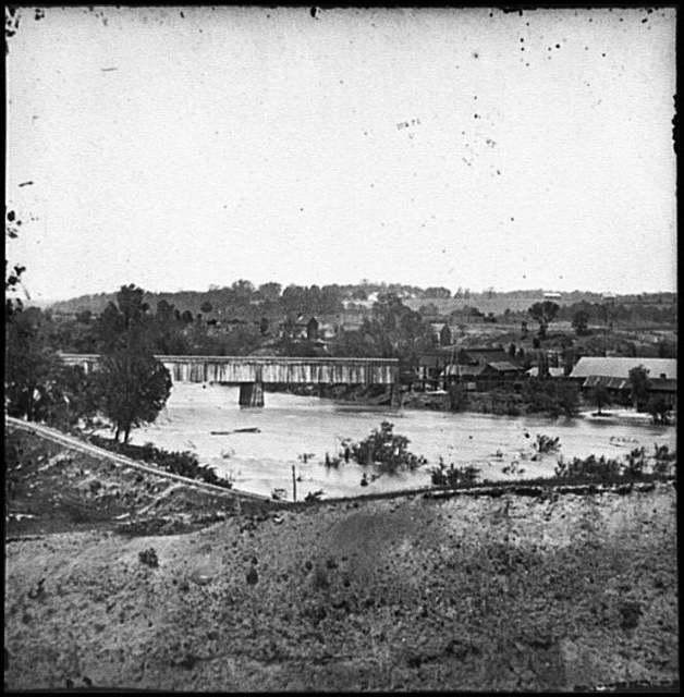 [Richmond, Va. Railroad bridge and Old Dominion Iron and Nail Works on Belle Isle]