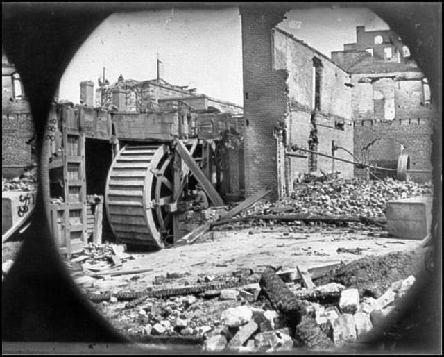 [Richmond, Va. Ruins of paper mill with water-wheel]