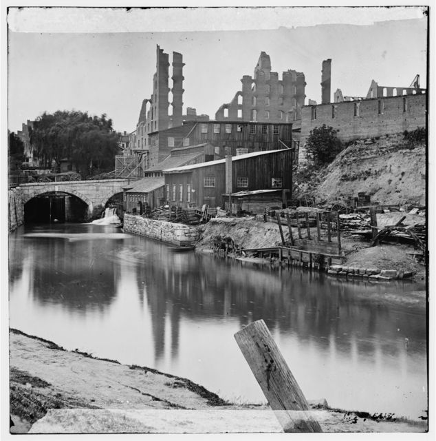 [Richmond, Va. View on James River and Kanawha Canal near the Haxall Flour Mills; ruins of the Gallego Mills beyond]