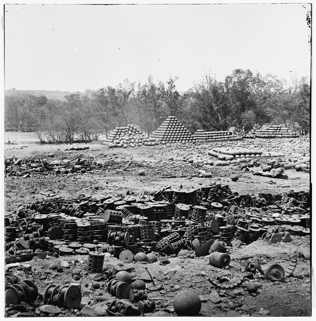 Richmond, Virginia. Stacked and scattered ammunition near the State Arsenal