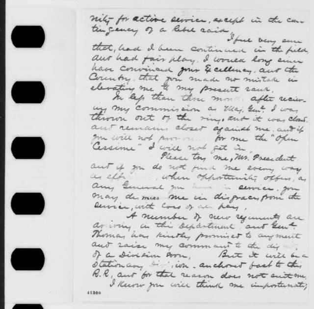 Robert H. Milroy to Abraham Lincoln, Wednesday, March 15, 1865  (Requests field command)