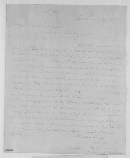 Robert Ould to John E. Mulford, Thursday, January 12, 1865  (Confederate spies)