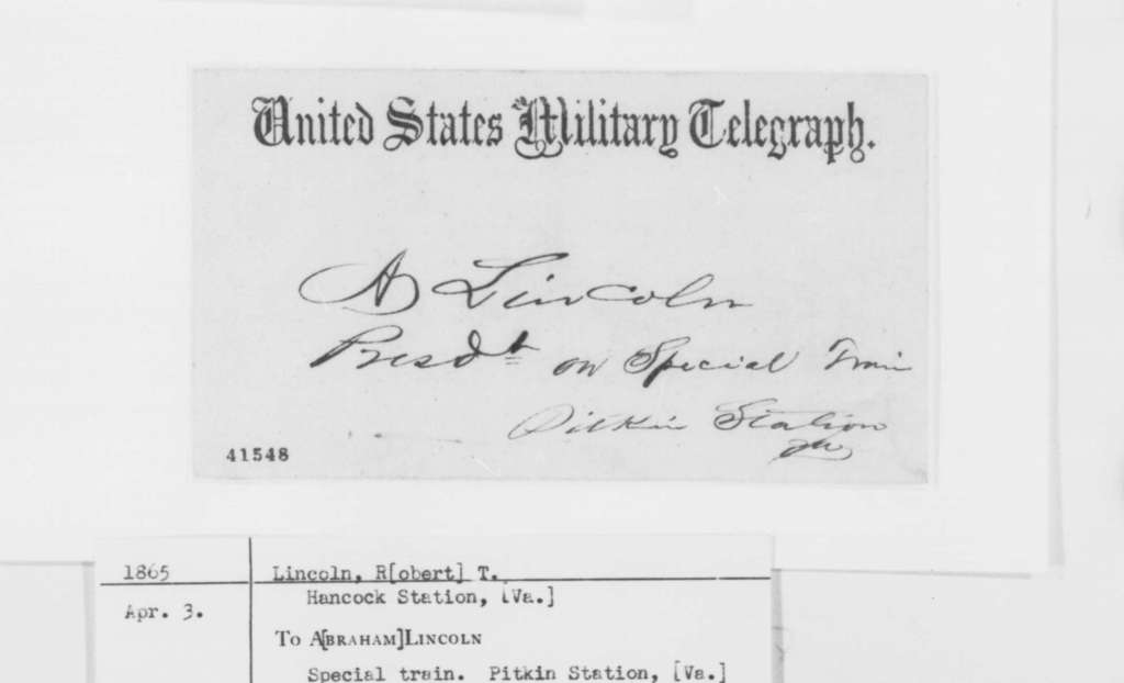 Robert Todd Lincoln to Abraham Lincoln, Monday, April 03, 1865  (Telegram concerning meeting at Hancock Station)