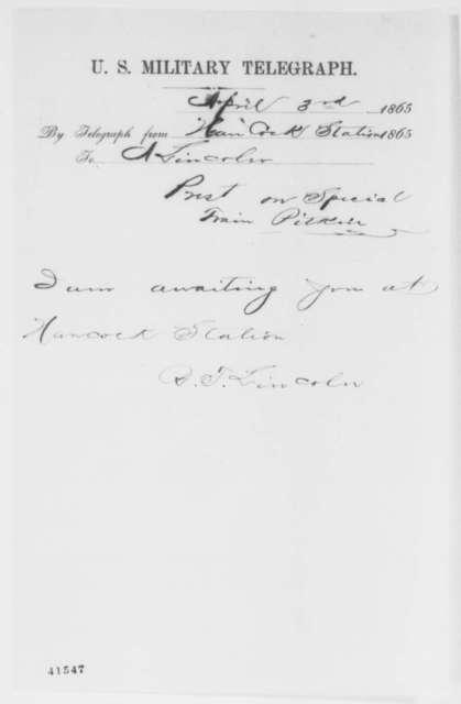 Robert Todd Lincoln to Abraham Lincoln, Monday, April 03, 1865  (Telegram concerning meeting at Hancock Station)