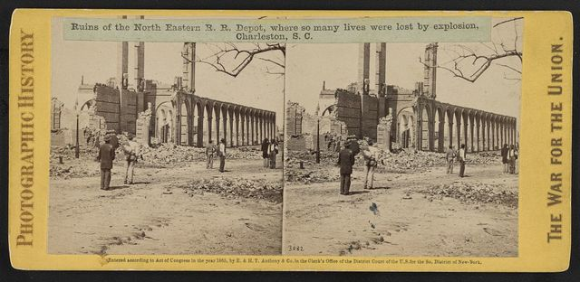 Ruins of the North Eastern R. R. Depot, where so many lives were lost by explosion, Charleston, S.C.