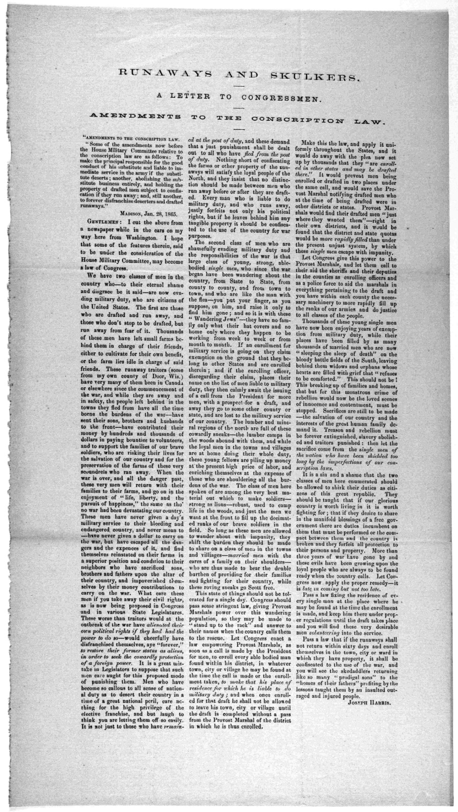 Runaways and skulkers. A letter to congressman. Amendments to the conscription law ... Madison, Jan 28, 1865.
