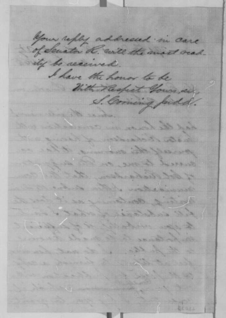 S. Corning Judd to Abraham Lincoln, Friday, March 03, 1865  (Requests permission to publish details of their interview)