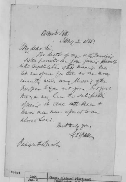 Salmon P. Chase to Abraham Lincoln, Monday, January 02, 1865  (Explanation for why Chase was not present at White House reception)