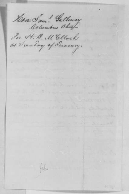 Samuel Galloway to Abraham Lincoln, Friday, February 17, 1865  (Recommendation)
