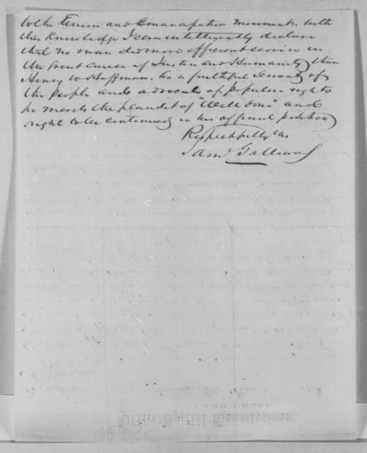 Samuel Galloway to Abraham Lincoln, Tuesday, January 03, 1865  (Writes on behalf of Henry W. Hoffman)
