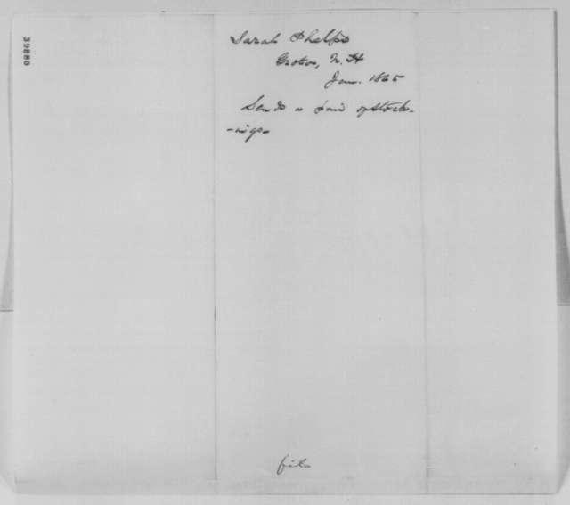 Sarah Phelps to Abraham Lincoln, January 1865  (Sends socks)