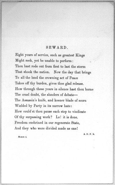 Seward. Eight years of service, such as greatest Kings ... A. D. F. R. March 4,1869
