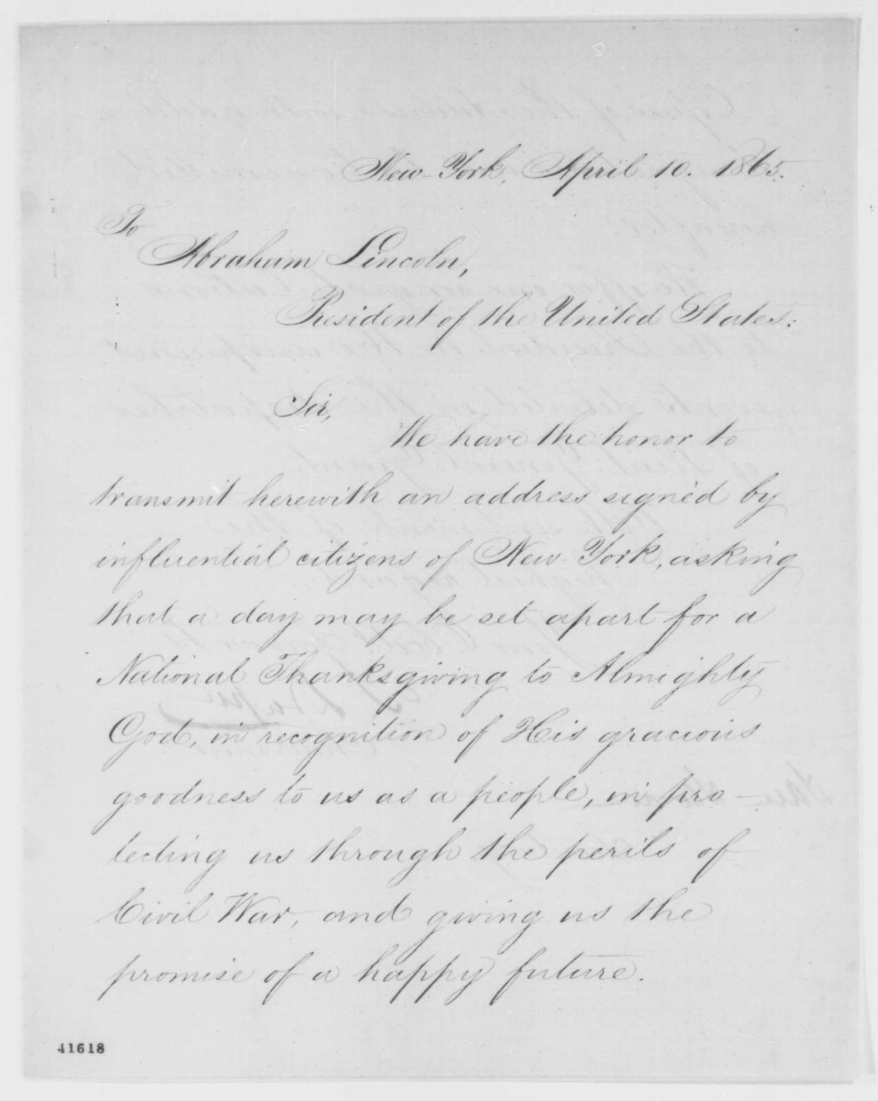 Simeon Draper and Samuel Sloan to Abraham Lincoln, Monday, April 10, 1865  (Send petition)