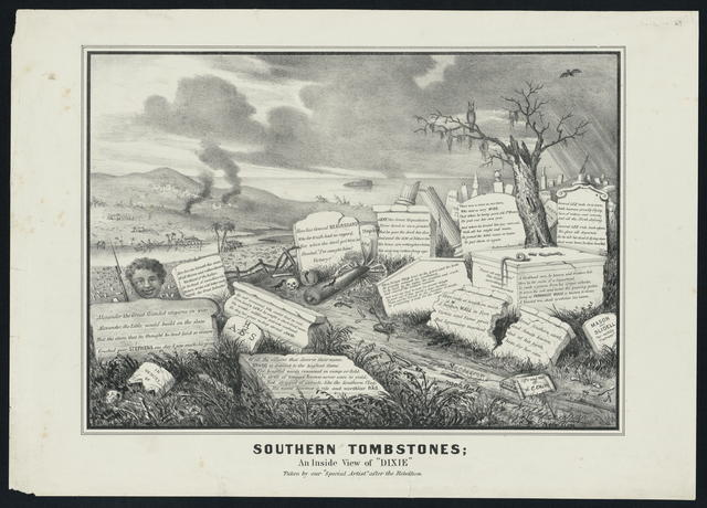 "Southern tombstones; an inside view of Dixie. Taken by our ""Special Artist"" after the Rebellion."