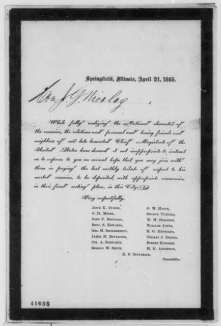 Springfield, Illinois, Funeral Committee, April 21, 1865  (Printed invitation)
