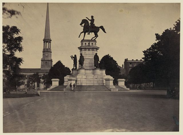 [Statue of George Washington on horseback on top of a monument in the Capitol Square area of Richmond, Virginia]