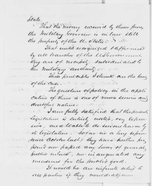 Stephen A. Hurlbut to Abraham Lincoln, Wednesday, March 15, 1865  (Civil-military relations in Louisiana)