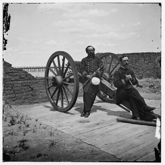 [Sullivan's Island, S.C. Lt. Comdr. Edward Barrett and Lt. Cornelius N. Schoonmaker of the U.S. monitor Catskill at Battery Bee, Sullivan's Island, Charleston harbor]