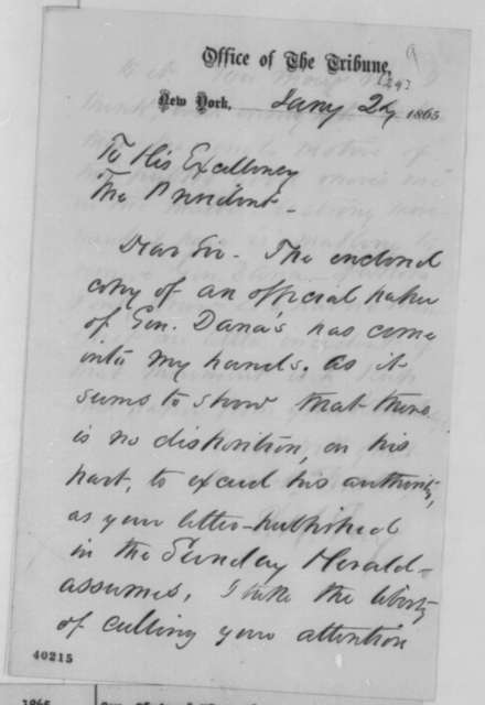 Sydney H. Gay to Abraham Lincoln, Tuesday, January 24, 1865  (Gen. Napoleon J. T. Dana)