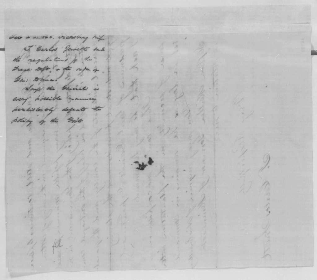 T. Carlos Jewett to Abraham Lincoln, Wednesday, February 22, 1865  (Sends Treasury regulations)