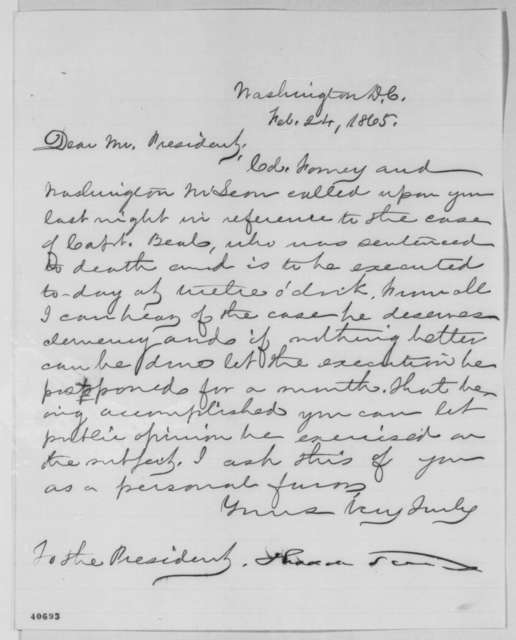 Thaddeus Stevens to Abraham Lincoln, Friday, February 24, 1865  (Case of John Y. Beall)