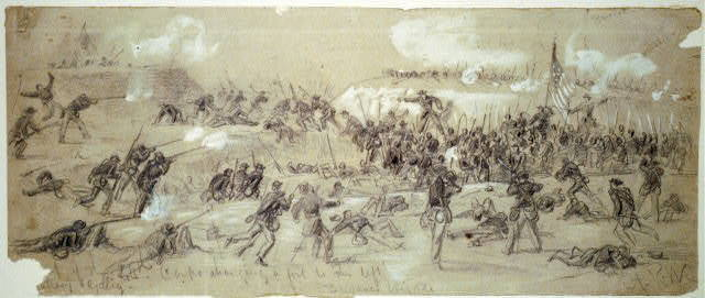 The 24th Corps charging a fort to the left.