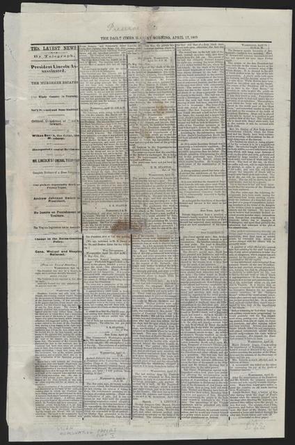 The Burlington Times, [newspaper]. April 17, 1865.