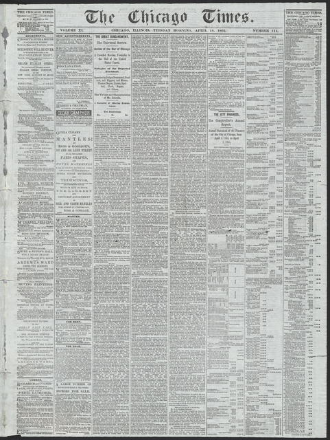 The Chicago Times, [newspaper]. April 18, 1865.