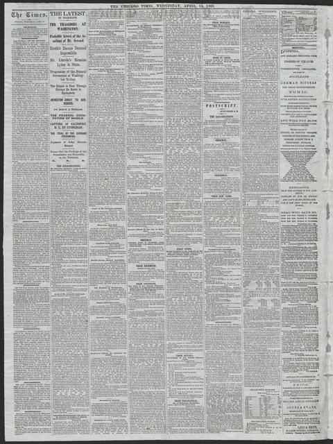 The Chicago Times, [newspaper]. April 19, 1865.