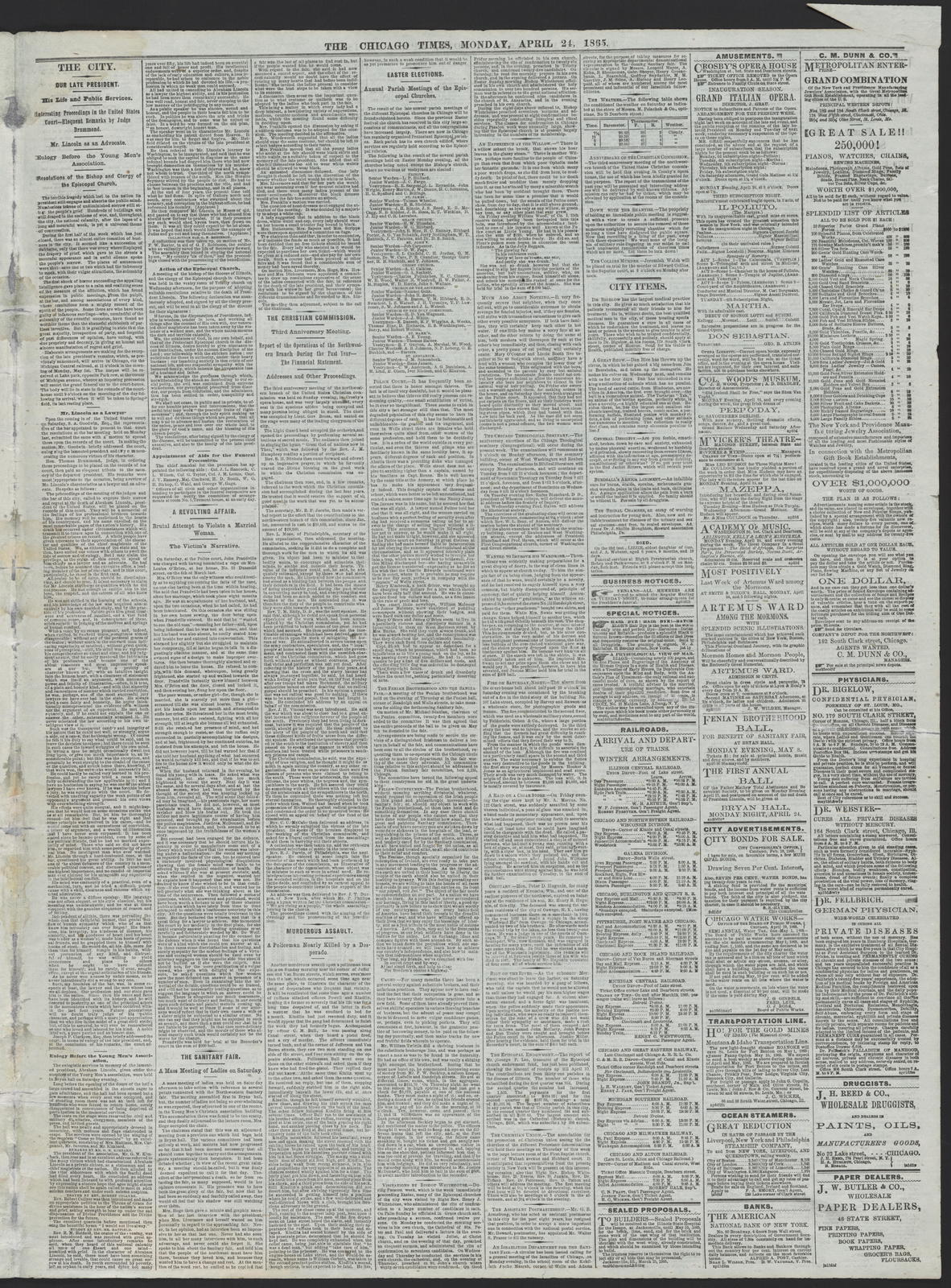 The Chicago Times, [newspaper]. April 24, 1865.
